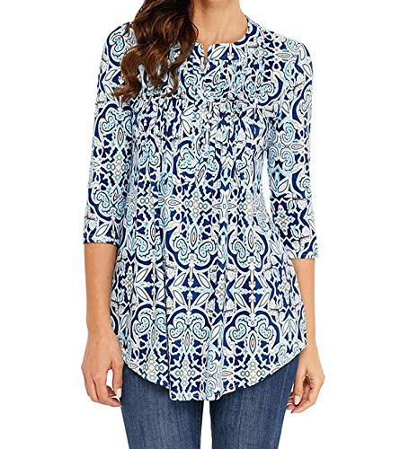 sensitives Spring Tunic Printed Women's Shirt Blouse 3/4 Sleeves Pleated Tops Womens 2019 Summer Fashion Shirts,Light Blue,S