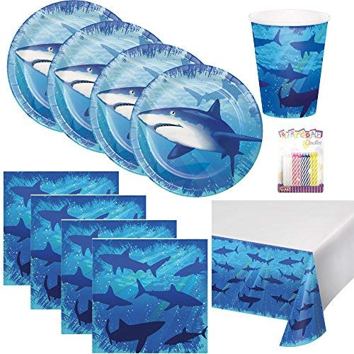 Shark Splash Party Supplies Pack Serves 16: Dessert Plates, Beverage Napkins, Cups, and Table Cover with Birthday Candles (Bundle for 16) ()