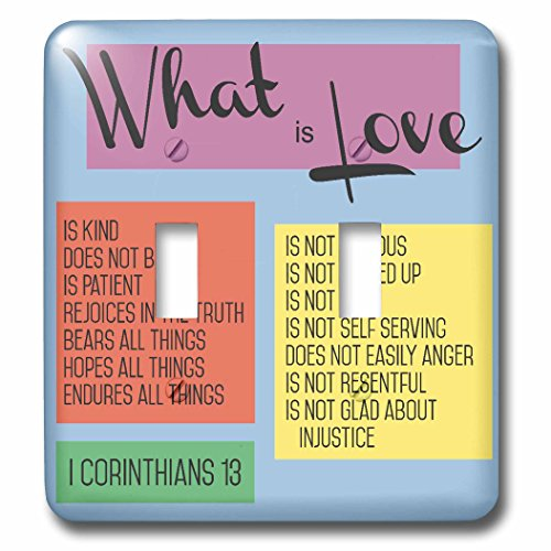 3dRose TNMGraphics Scripture - What Is Love Scripture Corinthians 13 - Light Switch Covers - double toggle switch (lsp_286318_2) by 3dRose