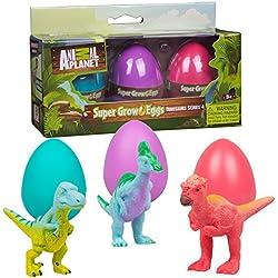 Animal Planet Dinosaur Super Grow Eggs- Dino Toys Hatch & Grow in Water to 3X Size!- Real Life Velociraptor, Pachycephalosaurus & Corythosaurus!