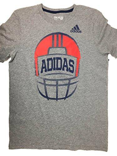 Adidas Graphic-Print Football T-Shirt, Big Boy Grey/Red Large 14/16 Adidas Football Tee