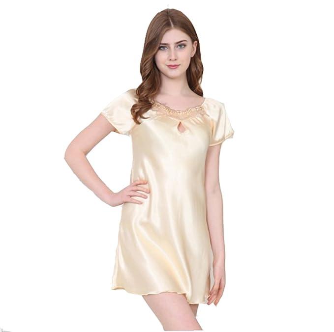 DSJJ Pijama Mujer Verano Mujer Camisón Pijama Satén Ropa de Dormir Sexy Mujer: Amazon.es: Ropa y accesorios