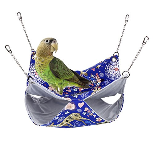 KINTOR Pet Double Bunkbed Cage Hammock Sleeper for Parrot Hamster Ferret Sugar Glider Rats mice chinchinlla Small Animals (L-13.8x13.8inch, Blue Deer)