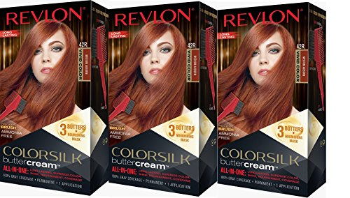 Revlon Colorsilk Buttercream Hair Dye, Vivid Medium Auburn, 3 Count