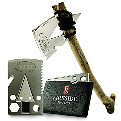Pocket Axe Card, Wallet Multi-Tool & EDC Survival Gear - 21 Urban Prepper Creditcard Cool Tools w/ Stainless Steel Multitool Ax for Men w/ Arrowhead & Emergency Multi-Purpose Saw by Fireside Supplies from FS