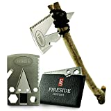 Pocket Axe Card, Wallet Multi-Tool & EDC Survival Gear - 21 Urban Prepper Creditcard Cool Tools w/ Stainless Steel Multitool Ax for Men w/ Arrowhead & Emergency Multi-Purpose Saw by Fireside Supplies