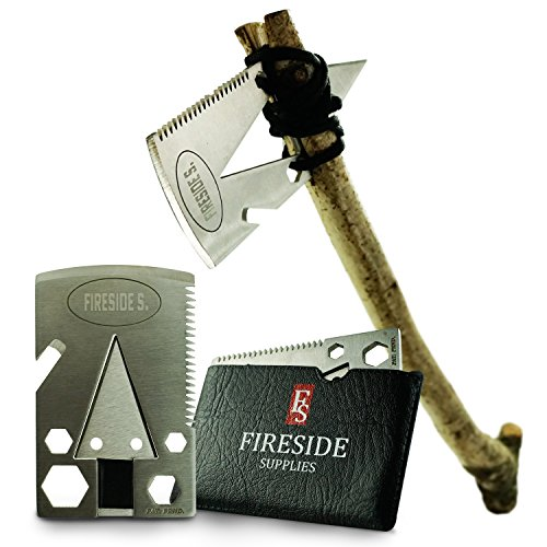 Pocket Axe Card, Wallet Multi-Tool & EDC Survival Gear - 21 Urban Prepper Creditcard Cool Tools w/ Stainless Steel Multitool Ax for Men w/ Arrowhead & Emergency Multi-Purpose Saw by Fireside Supplies by Fireside Supplies
