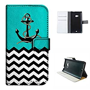 Lumia N535 case, SoloShow(R) Mint Green anchor wave pattern Luxury Wallet PU Leather Holder Pouch case for Microsoft Nokia Lumia N535 5.0 inch (Mint Green)