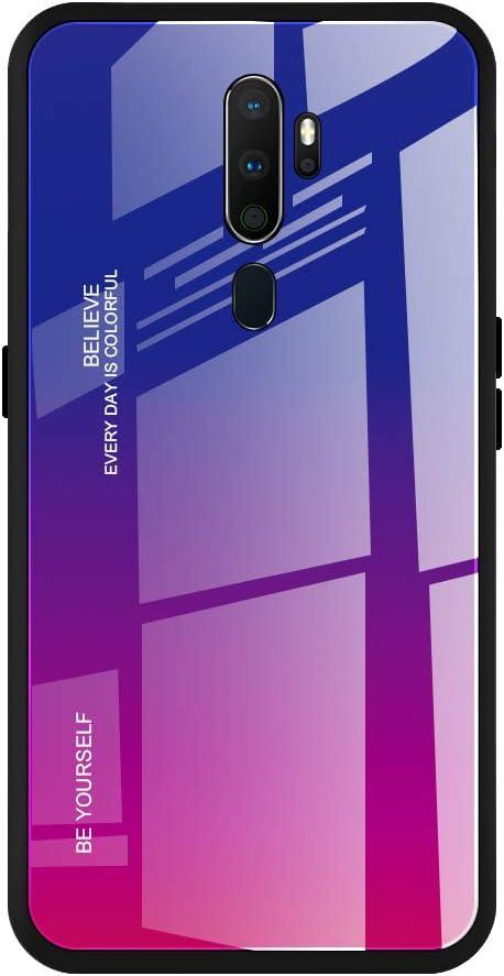 WUFONG Funda para OPPO A9 2020,Carcasa de teléfono móvil Anti-caída de Vidrio Ultrafino con Todo Incluido para Hombres y Mujeres-Azul púrpura