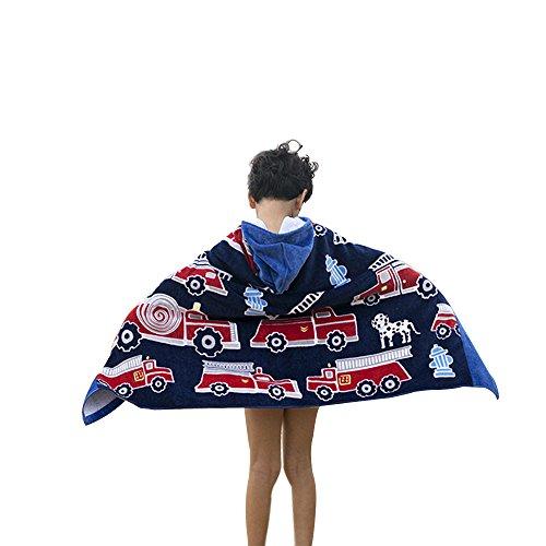 Houzemann Baby Kid's Hooded Bath Towel 100% Cotton Toddler Children Beach/Swim Towel 100% Cotton Cutie with Pattern—-Fire (Hooded Bath Towel Pattern)