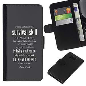 YiPhone /// Tirón de la caja Cartera de cuero con ranuras para tarjetas - SUPERVIVENCIA HABILIDAD - Samsung ALPHA G850