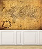 Wall Mural Vintage Map of the World, Peel and Stick Repositionable Fabric Wallpaper for Interior Home Decor (70''w x 51''h)