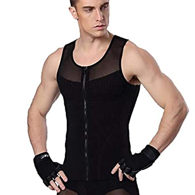 a6fc32d0fa NOVECASA Men Compression Zipper Vest to Hide Gynecomastia Moobs Chest  Slimming Body Shaper Flatten Abdomen (