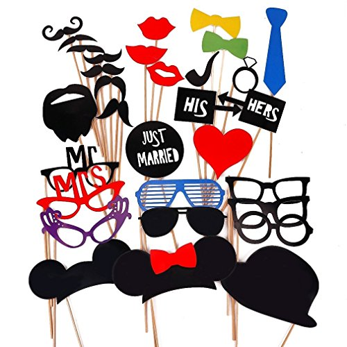 Costumes Diy Couples (GreenDimension 31 Pieces Photo Booth Props Couples Night Out Party Favor Decoration for Valentine's Day Dress-up Accessories Costumes with Mustache, Hats, Sun Glasses, Lips, Bowler, Bowties on Sticks)
