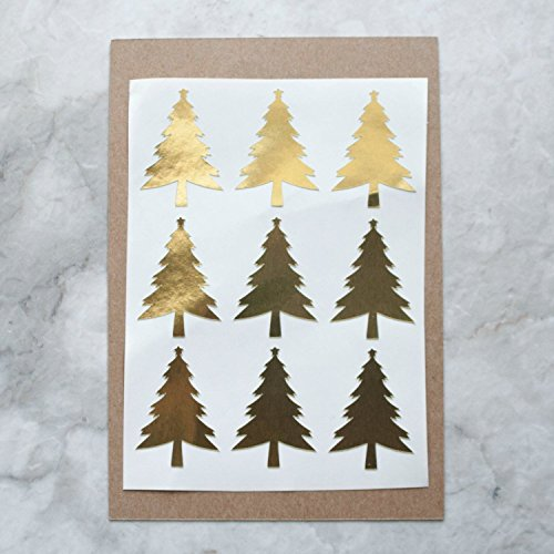 Metallic gold christmas tree stickers pack home
