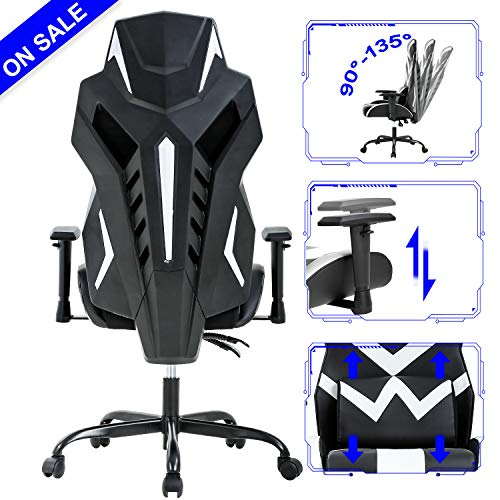 PC Gaming Chair Ergonomic Office Chair Cheap Desk Chair High Back Racing Computer Chair with Lumbar Support Adjustable Arms Headrest Task Executive Swivel Rolling Chair for Adults Girls,White