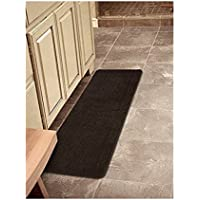 Ottomanson Softy Collection Solid Non-Slip Kitchen/Bath Rug, 20 X 59, Brown