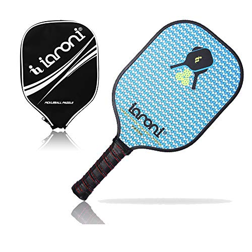 ianoni Graphite Composite Pickleball Paddle Pickleball Racket with Graphite Face & Polymer Honeycomb Core,Balanced Weight,Low Profile Edge,Meets USAPA Specifications (Blue)