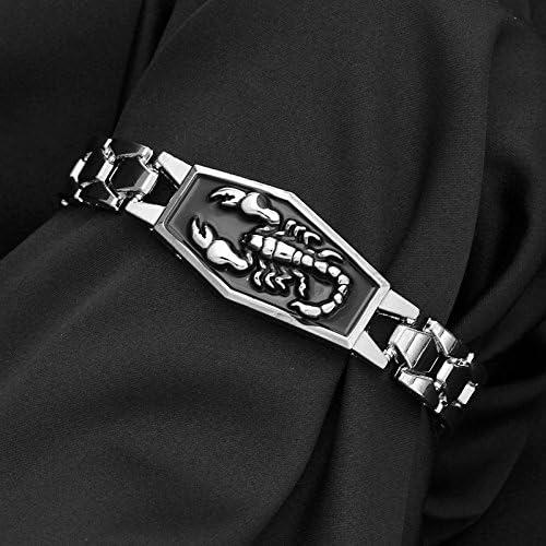 ODETOJOY Constellation Scorpion Bracelet For Men Zodiac Sign Titanium 316L Stainless Steel Cuff Bangles Charm Chain Horoscope Jewelry Astrology Horoscope Bracelet