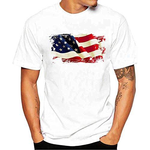 Realdo Men's Solid Casual T-Shirt, Fashion Short Sleeve Crewneck Cat Print Top Tee ()