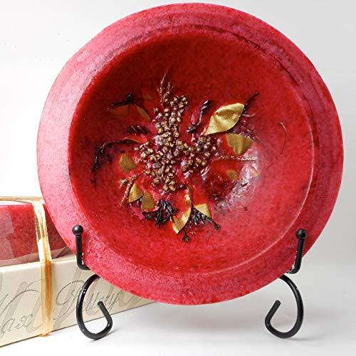 Habersham - Cranberry Spice Wax Pottery Bowl 7 inch with Free Stand
