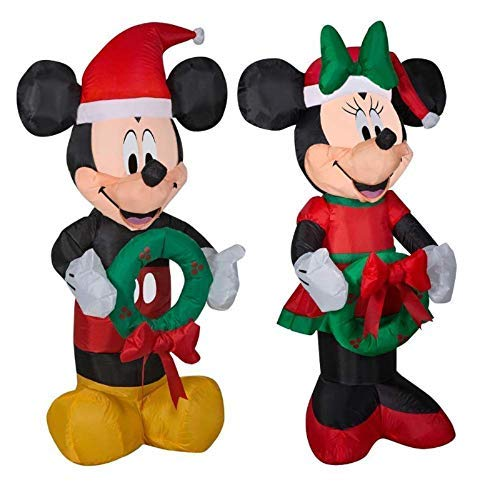 Mickey and Minnie Christmas Inflatable Bundle Holding Wreaths 3.5 ft Airblown