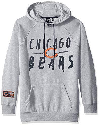 (NFL Chicago Bears Women's Fleece Hoodie Pullover Sweatshirt Tie Neck, Medium, Heather Gray)