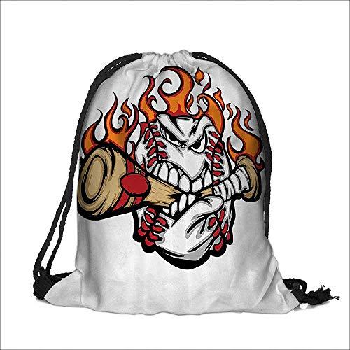 Pocket Drawstring Bag ball Flaming ce Biting Stitches Teeth Aggressive Angry Expressi Backpack Student Bag 12