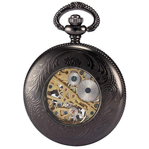 Mix&Rock Steampunk Stylish Skeloton Cover Mechanical Dangle Pocket Watch with Chain