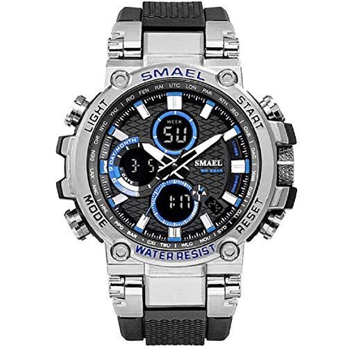 【TAILOR JAPAN】メンズ 腕時計 メンズウォッチ ミリタリーウォッチ 防水 アナログ デジタル ウォッチ アウトドア スポーツ SMAEL (シルバーブルー)