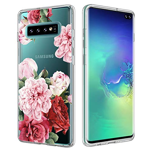 Casetego Compatible Galaxy S10 Plus Case,Clear Soft Flexible TPU Case Rubber Silicone Skin with Flowers Floral Printed Back Cover for Samsung Galaxy S10 Plus,Rose Flower