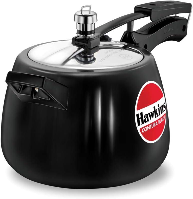 Hawkins CB40 Hard Anodised Pressure Cooker, 4-Liter, Contura Black