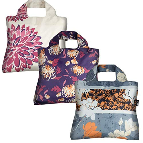Reusable Grocery Bags- Set of 3 Oriental Spice, Envirosax Foldable Quality Shopping Tote Bag, Eco-Friendly Polyester, Waterproof and Machine Washable. For Shopping, Travel, Arts, Crafts, Multi Use