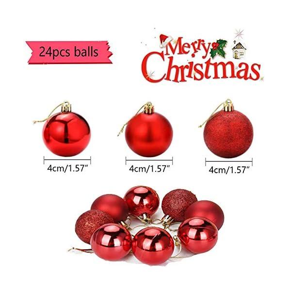 ZHOUZHOU 24 Pezzi 4cm Palle di Natale,Palline di Natale,Albero di Natale Palla Decorazioni,Palle Albero di Natale,Ornamenti di Palla di Natale,Natalizie Plastica Palle (Rosso) 2 spesavip