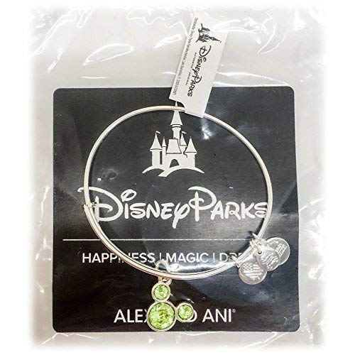 - Disney Parks Alex and ANI Mickey Mouse Swarovski Crystal Light Green Birthstone Bangle Bracelet - Jewelry (Silver, August)