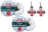 "Epipen Inside Bag Tag 1.25"" 2pcs/Food Allergies Button Clip back 2.25'' 2pcs"