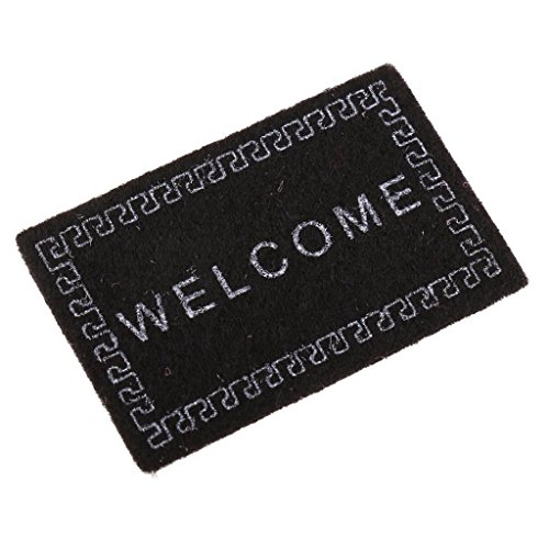 SODIAL Doll House Miniature carpet WELCOME Mat Dollhouse Accessories Home & Living 1/12 Scale doormats Black