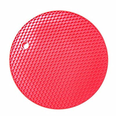 Silicon pot Pot Holder Round shape silicone mat kithchen pot holder trivets Jar Opener Red By Gangnumsky