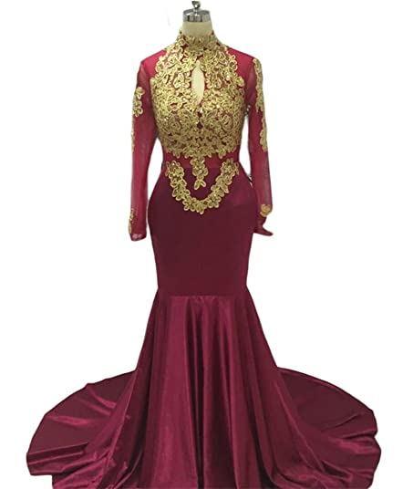 TulBridal Womens Gold Appliques Sequins Mermaid Long Sleeves Prom Dresses Evening Gowns