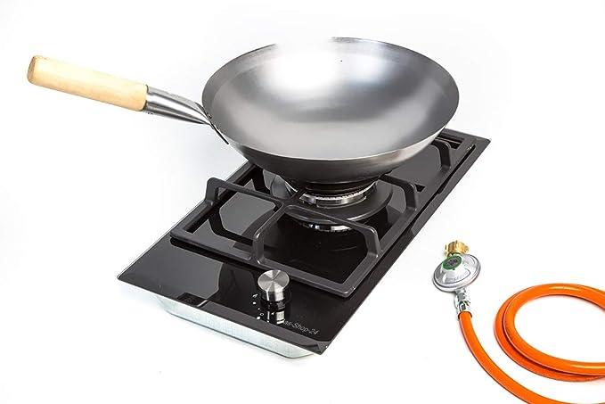 Cocina de Gas 1 Fuego para Gas propano – Gas Natural con Wok – Tapa de Quemador de Hierro Fundido (hornillo asiático, Wok de Gas, Cocina de Camping, ...