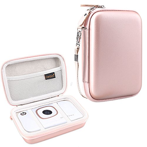 Canboc Shockproof Carrying Case Storage Travel Bag for HP Sprocket 2-in-1 2FB96A Portable Photo Printer Instant Camera, Fit Photo Paper, Mobile Printer Camera Protective Pouch Box, Rose Gold