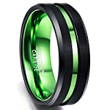 Nuncad Thin Green Line Tungsten Ring for Men 8mm Brushed Finish Polished Beveled Edge Size 14