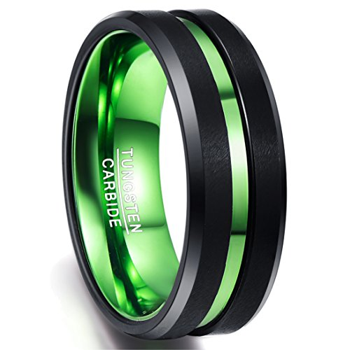 Nuncad Classic Two Tone Tungsten Rings for Men Green Groove Black Brushed...