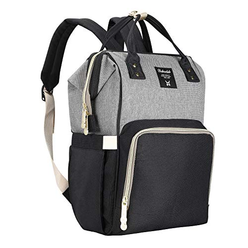 Diaper Bag Backpack Large Capacity Baby Bag, Wiscky Multi-Function Waterproof Travel Nappy Bags Organizer for Mom/Dad, Stylish and Durable (Gray-Black)