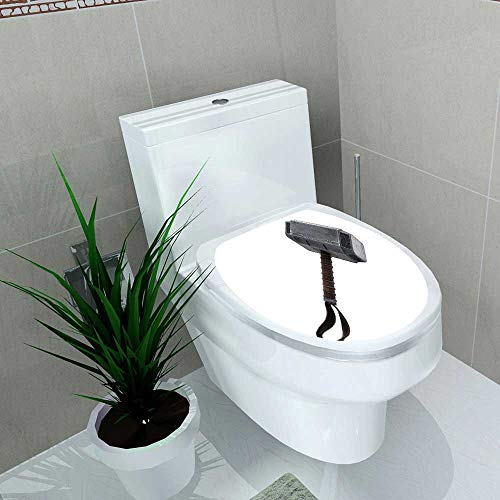 Auraise-home Waterproof self-Adhesive Hammer of Thor Mjolnir d d Render Isolated Toilet Seat Vinyl Art Stickers W15 x L17]()