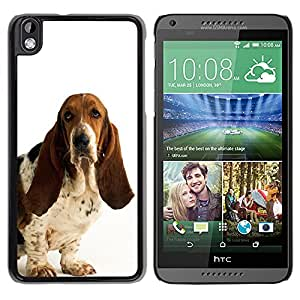 Vortex Accessory Hard Protective Case Skin Cover For Htc Desire 816 - Basset Hound White Dog Pet Droopy