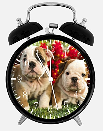 - Cute Funny English Bull Dog Puppies Alarm Desk Clock 3.75