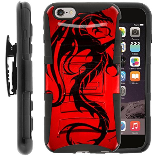 TurtleArmor | Compatible for Apple iPhone 6 Plus Case | iPhone 6s Plus Case [Hyper Shock] Hybrid Dual Layer Armor Holster Belt Clip Case Kickstand - Red Dragon -