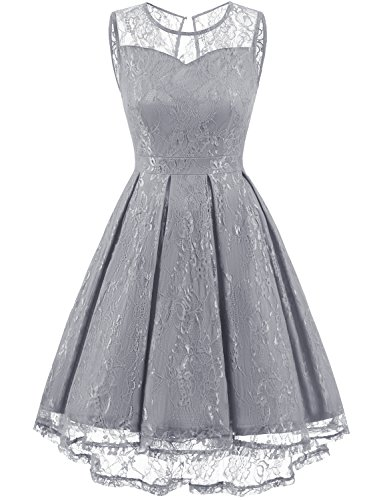 Gardenwed Women's Retro Floral Lace High Low Homecoming Dress Cocktail Party Gown Bridesmaid Dress Grey XS