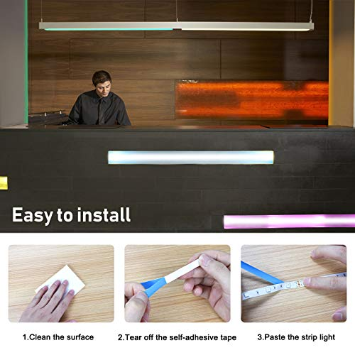Strisce LED 5m Aogled,kit cambio colore LED RGB 5050 con telecomando a 24 pulsanti,strisce luminose d\'atmosfera a LED per la decorazione di interni ed esterni